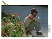 Man Alone Sitting On Curb Carry-all Pouch