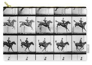 Man And Horse Jumping Carry-all Pouch by Eadweard Muybridge