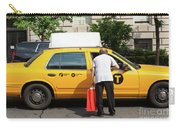 Man Asks For Information A Taxi Driver In Manhattan. Carry-all Pouch