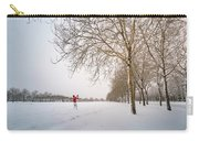 Man In Red Taking Picture Of Snowy Field And Trees Carry-all Pouch