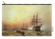 Man-o-war Firing A Salute At Sunset Carry-all Pouch by Claude T Stanfield Moore