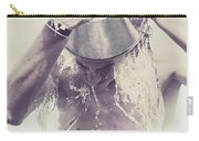 Man Pouring Cold Water From Wine Cooler Over Body Carry-all Pouch by Jorgo Photography - Wall Art Gallery