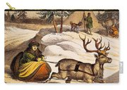 Man Riding Reindeer-drawn Sleigh Carry-all Pouch