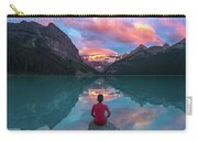 Man Sit On Rock Watching Lake Louise Morning Clouds With Reflect Carry-all Pouch
