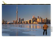 Man Standing On Frozen Lake Ontario Ice Looking At Toronto City  Carry-all Pouch