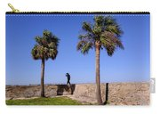 Man With A Hat On The Wall With Palm Trees In Saint Augustine Fl Carry-all Pouch