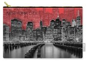Manhattan Skyline - Graphic Art - Red Carry-all Pouch