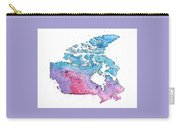 Map Of Canada With A Watercolor Texture In Pink, Blue And Purple Carry-all Pouch