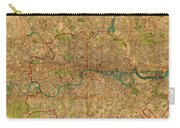 Map Of London England United Kingdom Vintage Street Map Schematic Circa 1899 On Old Worn Parchment  Carry-all Pouch