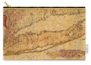 Map Of Long Island New York State In 1842 On Worn Distressed Canvas  Carry-all Pouch