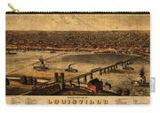 Map Of Louisville Kentucky Vintage Birds Eye View Aerial Schematic On Old Distressed Canvas Carry-all Pouch