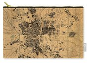 Map Of Madrid Spain Vintage Street Map Schematic Circa 1943 On Old Worn Parchment  Carry-all Pouch