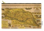 Map Of Nebraska 1954 Omaha Cornhusker State Aerial View Illustration Cartography On Worn Canvas Carry-all Pouch
