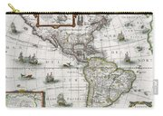 Map Of The Americas Carry-all Pouch by Henricus Hondius