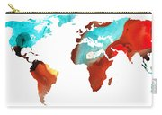 Map Of The World 4 -colorful Abstract Art Carry-all Pouch by Sharon Cummings