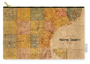 Map Of Wayne County Michigan Detroit Area Vintage Circa 1893 On Worn Distressed Canvas  Carry-all Pouch