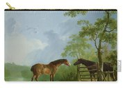 Mare And Stallion In A Landscape Carry-all Pouch
