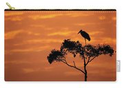 Maribou Stork On Tree With Orange Sunrise Sky Carry-all Pouch