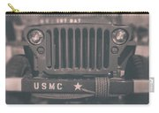 Marine Corps Jeep In Black And White Carry-all Pouch