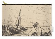 Marine: Fishing Boats On Shore, Man With Oars, Ship In Distance Carry-all Pouch
