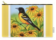 Maryland State Bird Oriole And Daisy Flower Carry-all Pouch by Crista Forest