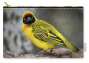 Masked Weaver Bird Facing Camera On Log Carry-all Pouch