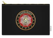 Master Mason - 3rd Degree Square And Compasses Jewel On Black Leather Carry-all Pouch