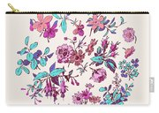 Meadow Flower And Leaf Wreath Isolated On Pink, Circle Doodle Fl Carry-all Pouch