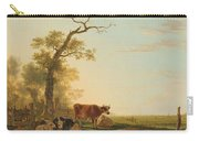 Meadow Landscape With Animals, Jacob Van Strij, 1800 - 1815 Carry-all Pouch