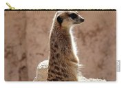 Meerkat Standing On Rock And Watching Carry-all Pouch