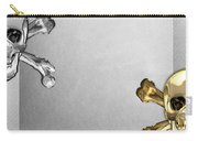 Memento Mori - Gold And Silver Human Skulls And Bones On White Canvas Carry-all Pouch