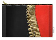 Memento Mori - Gold Human Backbone Over Black And Red Canvas Carry-all Pouch