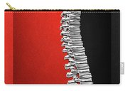 Memento Mori - Silver Human Backbone Over Red And Black Canvas Carry-all Pouch