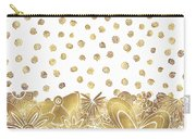 Metallic Gold Floral Flower Swirls Trendy Unique Art By Madart Carry-all Pouch