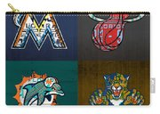 Miami Sports Fan Recycled Vintage Florida License Plate Art Marlins Heat Dolphins Panthers Carry-all Pouch