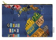 Michigan License Plate Map Great Lake State With Vintage Blue Plate Background Edition Carry-all Pouch