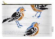 Michigan Robins State Bird Recycled Vintage License Plate Art On White Barn Wood Carry-all Pouch