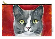 Mika - Gray Tuxedo Cat Painting Carry-all Pouch