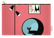 Shower Curtain Mini Atomic Cat On Pink  Carry-all Pouch