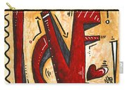 Mini Pop Art Gold Red Love Original Painting By Madart Carry-all Pouch