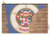 Minnesota Rustic Map On Wood Carry-all Pouch