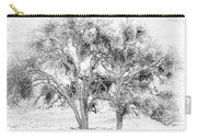 Mistletoe Tree In Black And  White Carry-all Pouch