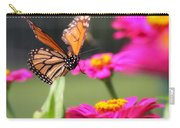 Monarch Approaching Zinnia 2 Carry-all Pouch
