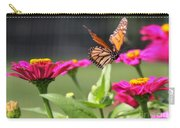 Monarch Approaching Zinnia Carry-all Pouch
