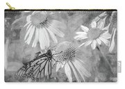 Monarch Butterfly In Black And White Carry-all Pouch