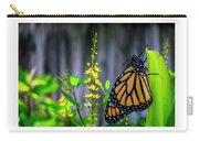 Monarch Butterfly Poised On Green Stem Among Yellow Flowers Carry-all Pouch