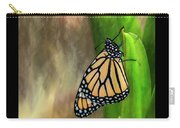 Monarch Butterfly Poised On Green Stem Carry-all Pouch