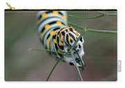 Monarch Caterpillar Clutches Dill In Pincers, Macro Carry-all Pouch