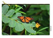 Monarch Butterfly Resting On Cassia Tree Leaf Carry-all Pouch