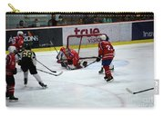 Mongolia Team Players Defend Goal Vs Malaysia In Ice Hockey Match In Rink Bangkok Thailand Carry-all Pouch